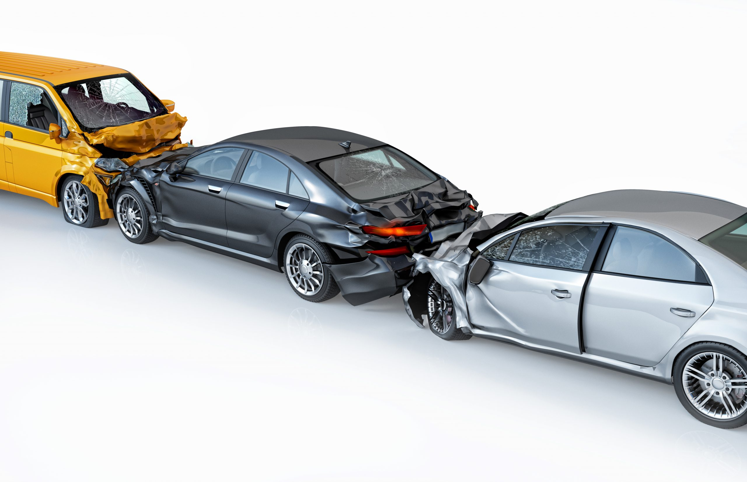 Three cars crashed in multiple car accident